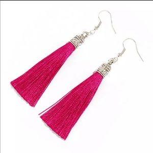 Jewelry - Bohemian silver top tassel drop earrings in pink